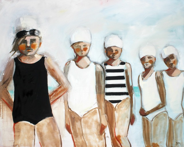 ", '""Line Up"" oil painting of five girls in black and white swimsuits lined up,' 2010-2018, Eisenhauer Gallery"