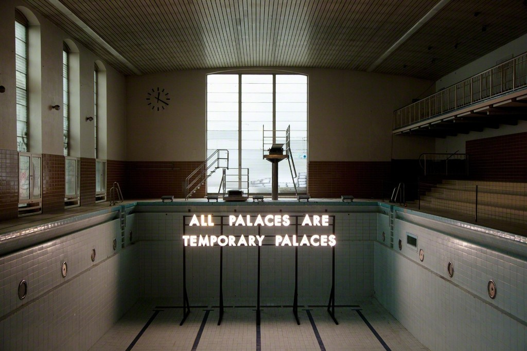Robert Montgomery, site-specific installation at Stattbad Wedding, 2012, photo: Kai von Rabenau