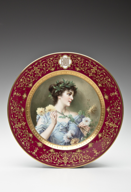 , 'Cabinet plate with dark-haired beauty; for Ceramic Art Company, Trenton,' 1904, Newark Museum