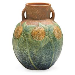 """9"""" Sunflower vase, Zanesville, OH"""