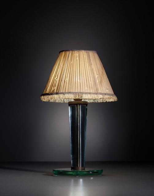 Pietro Chiesa, 'Table lamp', circa 1940, Design/Decorative Art, Glass, brass, copper, fabric shade., Phillips