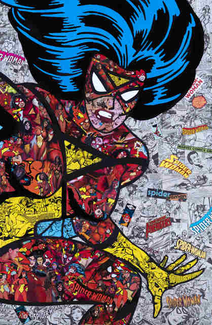Mr Garcin, 'Spider Woman', 2020, Drawing, Collage or other Work on Paper, Collage on aluminum, Galerie Christiane Vallé