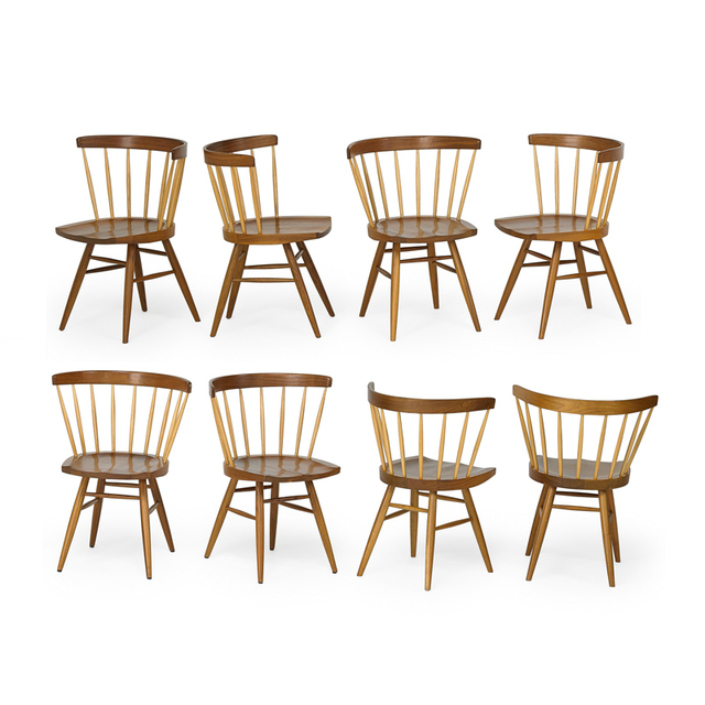 George Nakashima, 'Set of eight Straight-Back dining chairs, USA', 2000s, Rago/Wright