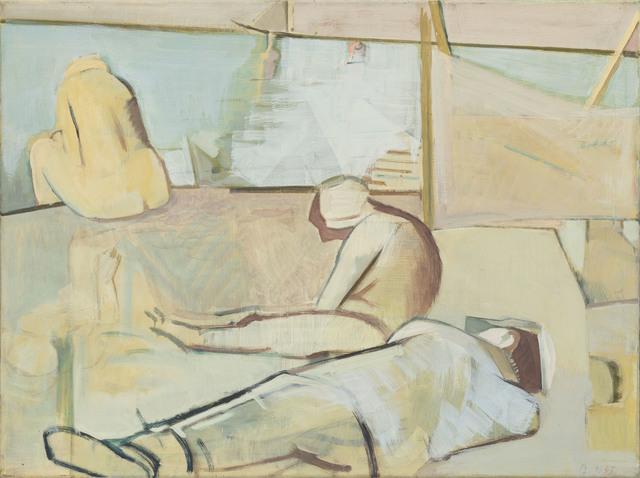 Dietrich Burger, 'Figuren an der Küste', 1993, Painting, Tempera on MDF, Galerie Kleindienst