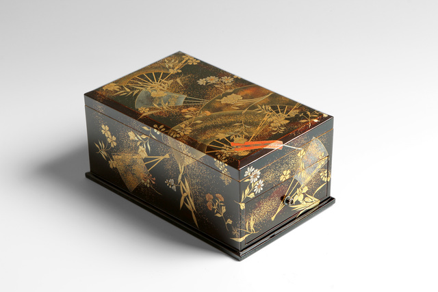 , 'Writing Box with Fans and Flowering Plants (T-3910),' Meiji period (1868-1912) ca 1900, Erik Thomsen