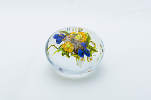 Paul Stankard, 'Paul Stankard Original Glass Paperweight with Yellow Flowers, Blueberries, and Honeybee', 1997, Sculpture, Glass, Modern Artifact