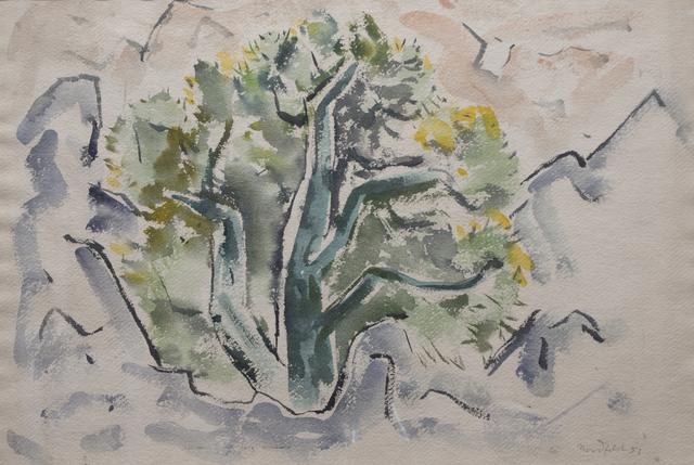 B. J. O. Nordfeldt, 'Tree and Mountain', 1951, Peyton Wright Gallery