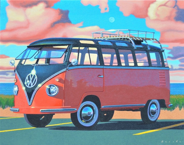 """Rob Brooks, '""""Autumn Samba"""" photorealistic painting of a red and navy Volkswagen Bus with pink clouds behind', 2018, Eisenhauer Gallery"""