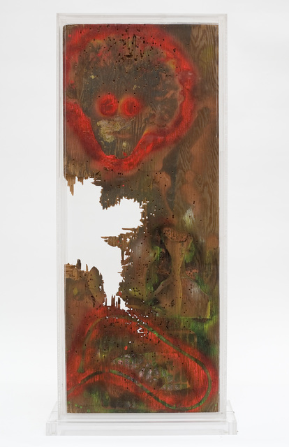 William S. Burroughs, 'Ten Gauge City', 1988, Sculpture, House paint on wood panel with gunshot holes in a plexi-glass, October Gallery