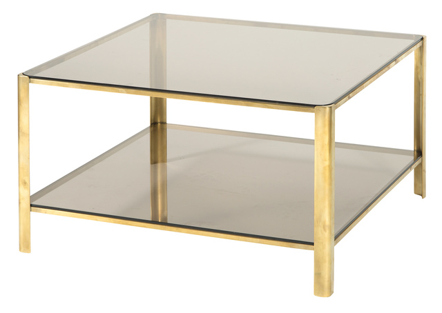 'Jacques Quinet Smokey Glass and Gilt Bronze Low Table', Doyle