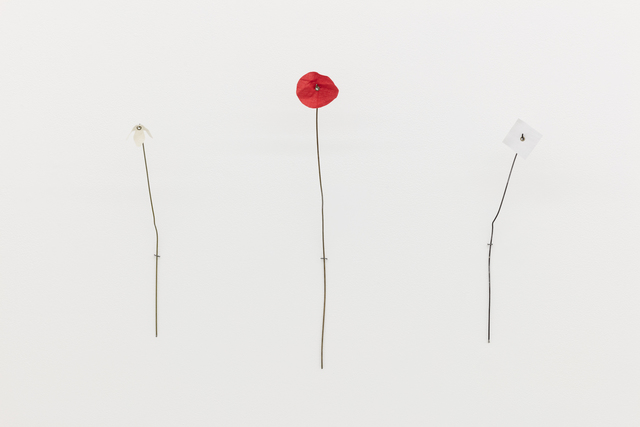 , 'Untitled (flower 1), Untitled (flower 2, red circle), Untitled (flower 3, white square),' 2017, MKG127
