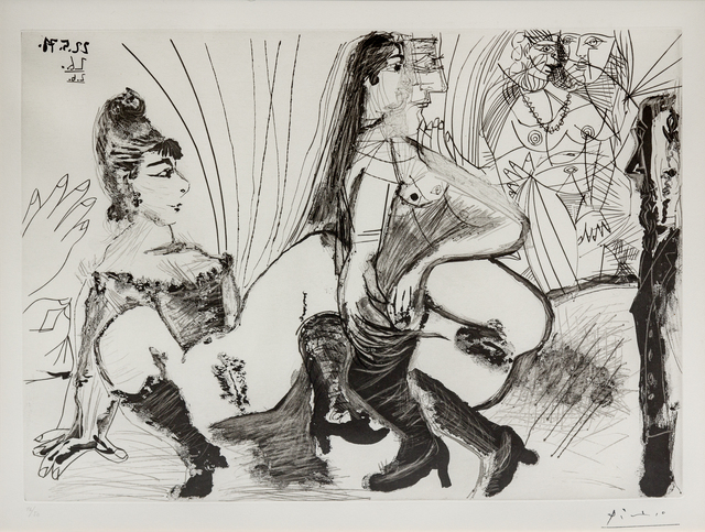 Pablo Picasso, 'Degas paie et s'en va. Les filles ne sont pas tendres, from 156 Series', 1971, Print, Aquatint and drypoint, Hindman