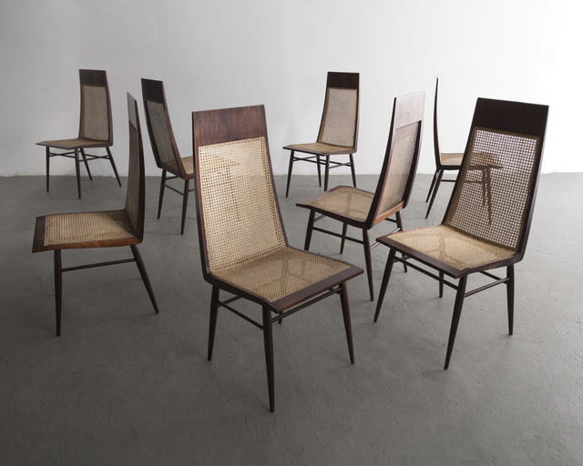 , 'Set of eight (8) dining chairs in rosewood with cane seat and back,' ca. 1949, R & Company