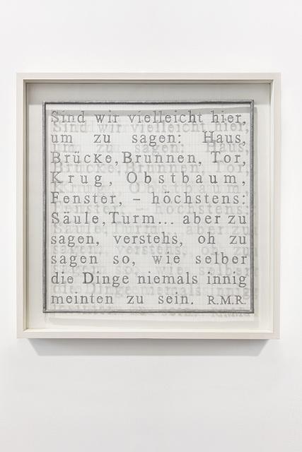 , 'Rilke,' 2014, Galleria Massimo Minini