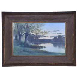 "Fine large Scenic Vellum plaque, ""Sunset on the River,"" Cincinnati, OH"