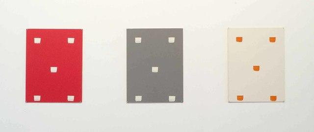 , 'Empreintes de pinceau n°50 à intervalles régulières (30cm): ABC - trois cartons plume,' 1993, Galerie Greta Meert