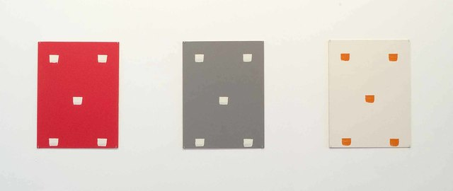 Niele Toroni, 'Empreintes de pinceau n°50 à intervalles régulières (30cm): ABC - trois cartons plume', 1993, Drawing, Collage or other Work on Paper, Acrylic on (coloured) cardboard, Galerie Greta Meert