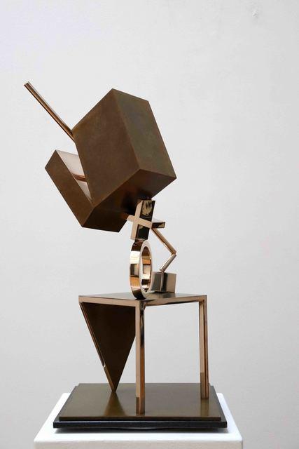 Fletcher Benton, 'Balanced/Unbalanced Table/Cube', 1993, Sculpture, Bronze, Yares Art