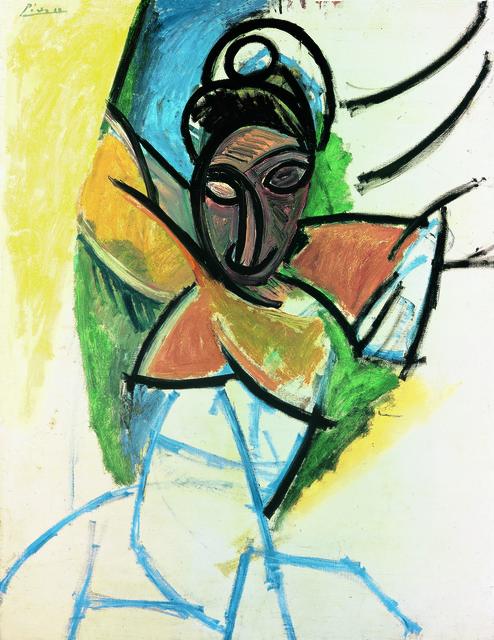 """Pablo Picasso, 'Femme (Epoque des """"Demoiselles d'Avignon"""") (Woman, """"Demoiselles d'Avignon"""" period)', 1907, Painting, Oil on canvas, Fondation Beyeler"""