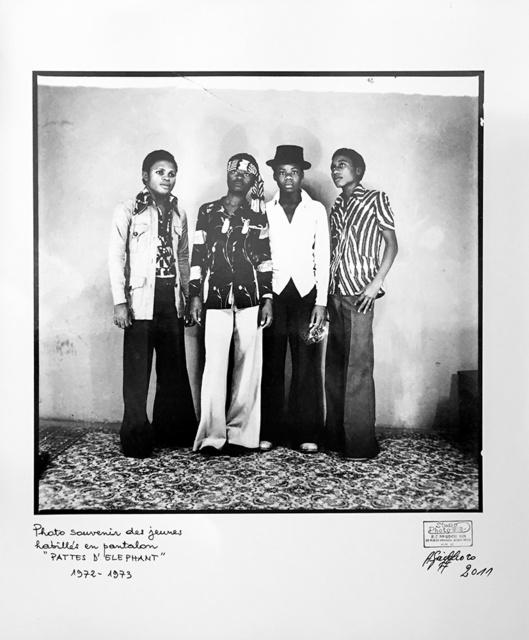 """Ambroise Ngaimoko, 'Photo souvenir des jeunes habillés en pantalon """"Pattes d'éléphant"""".', 1973, Magnin-A"""