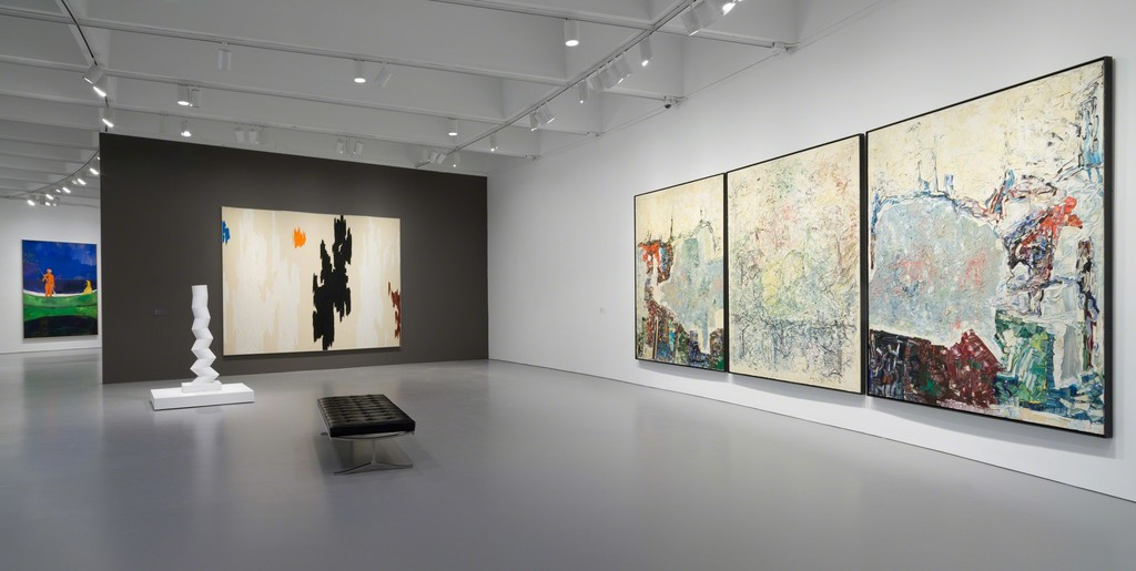 Installation view of Masterworks from the Hirshhorn Collection at the Hirshhorn Museum and Sculpture Garden, 2016. Left to right: Peter Doig, Spearfishing, 2013; Sérgio Camargo, Column, 1967-68; Clyfford Still, 1962-D, 1962; Jean-Paul Riopelle, Large Triptych, 1964. Photo: Cathy Carver