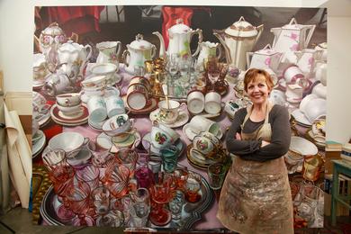 "Artist Margaret Morrison with ""Keramikos"""