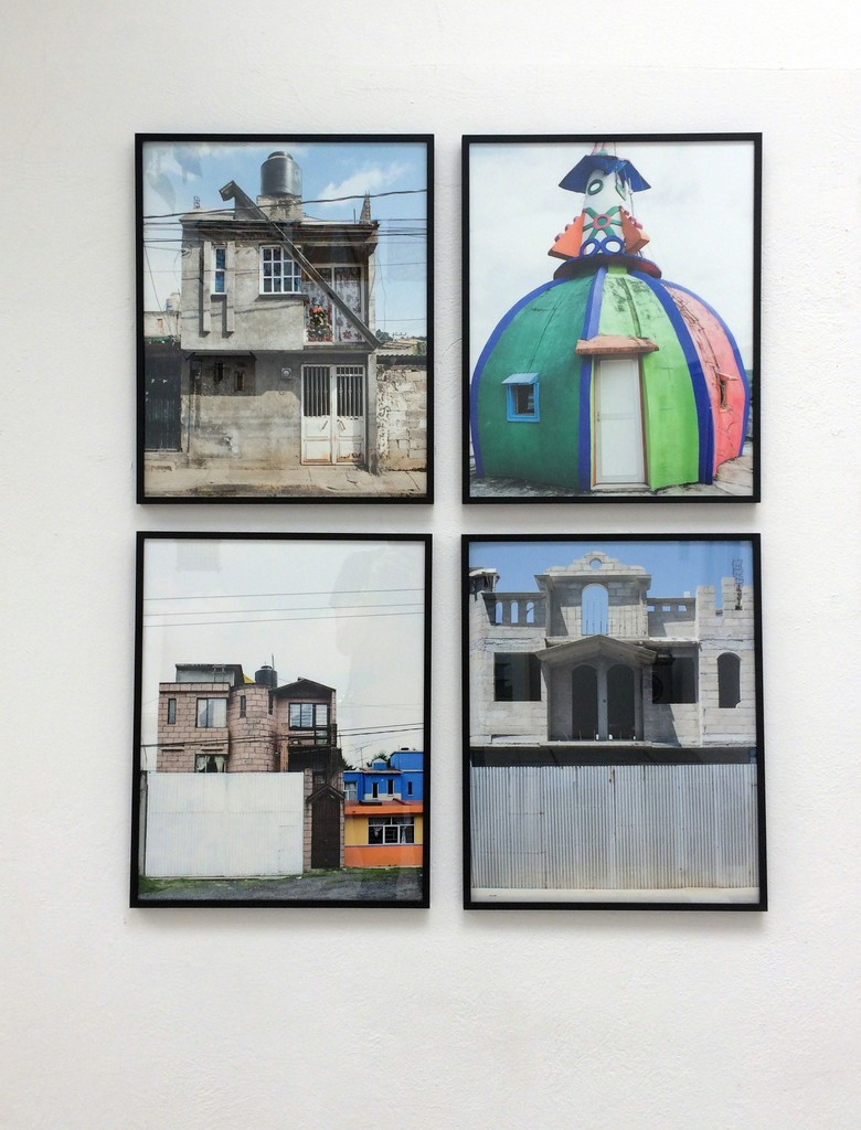 """An array of four images part of the """"Arquitectura libre"""" series, at the patio gallery"""