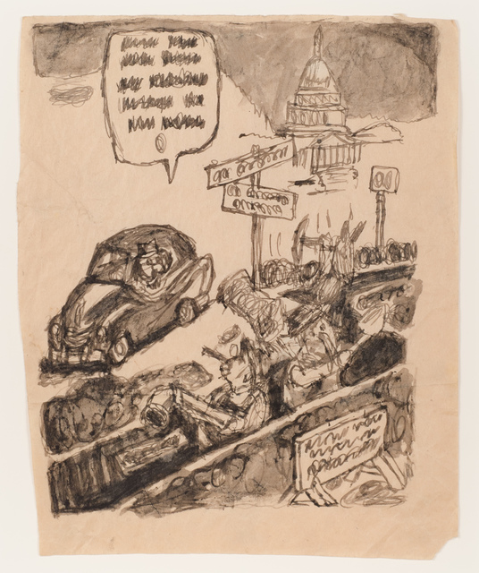 James Castle, 'Untitled (Political cartoon)', n.d., Fleisher/Ollman