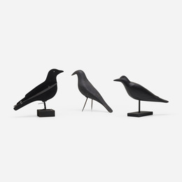 collection of three crow decoys