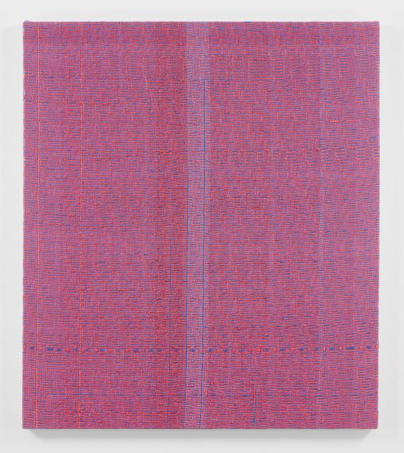 , 'Shadow Weave Fluorescent Red + Smoky Blue (33) 8/4 Cotton 15 EPI,' 2018, PRAZ-DELAVALLADE