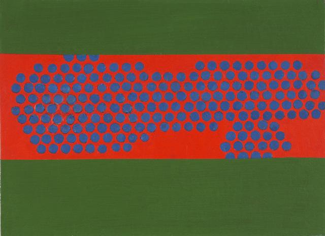 , 'Blue discs on vermillion,' 1967, Waterhouse & Dodd