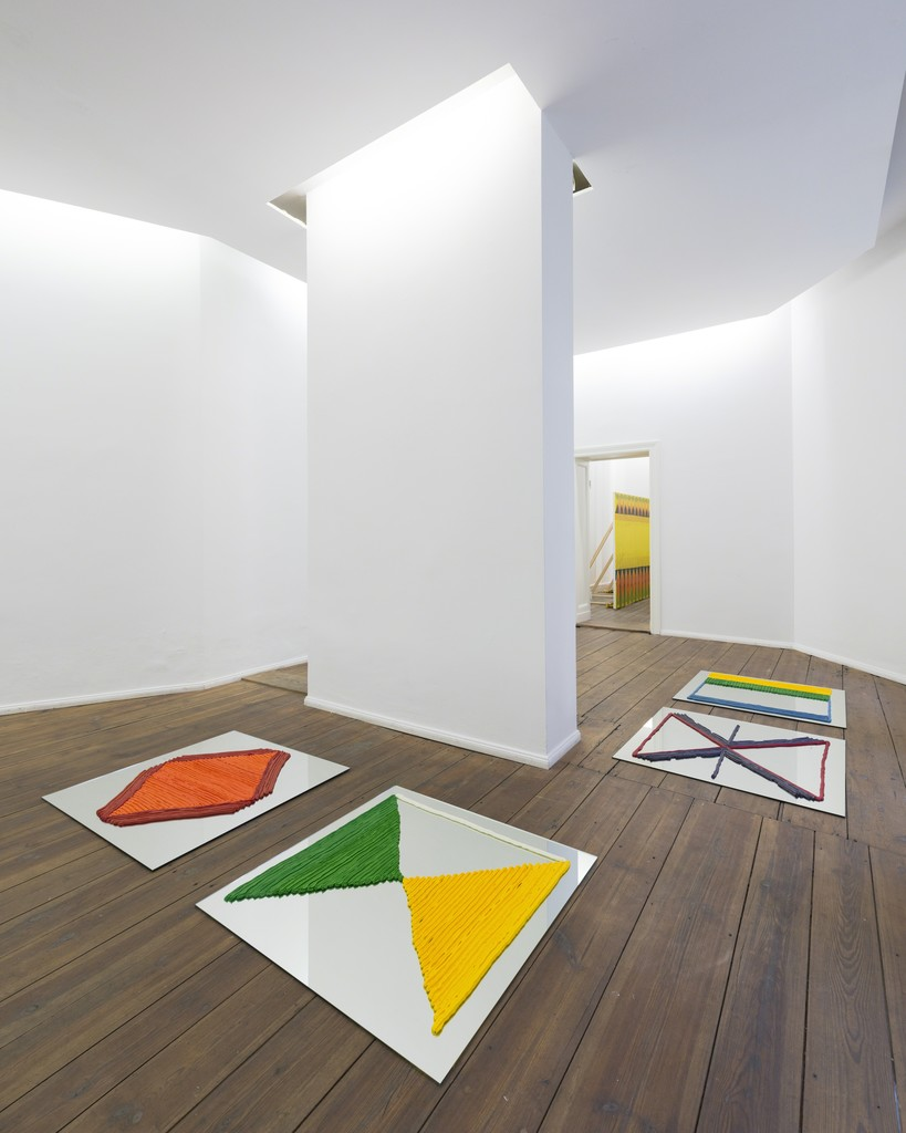 Tobias Sjöberg, Freikörperkultur I, II, III, IV (installation view), cream, oxygen, salt, sugar and food coloring components, each 100 x 100 cm, 2015.