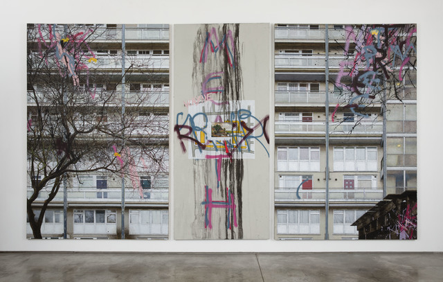 David Hepher, 'Hey Wayne on the Meath Estate', 2019, Painting, Acrylic, oil, spray paint and concrete on canvas triptych, Flowers