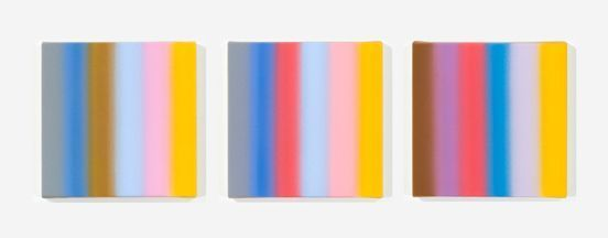 Tim Bavington, '3 Relative Minor Chords in C  ', 2008, Painting, Synthetic polymer on canvas (3 parts, 12 x 12 inches each), Mark Moore Fine Art