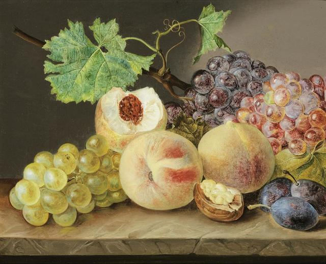Franz Xaver Petter, 'Still life with peaches, grapes, plums and walnut', ca. 1825, Galerie Kovacek