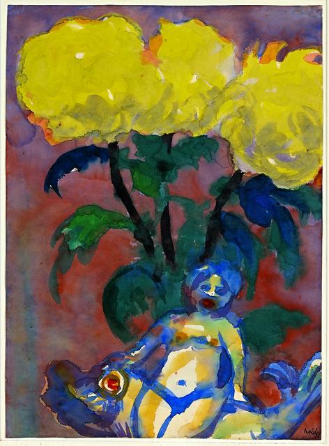 , 'Gelbe Dahlien und Figur (Yellow Dahlias and Figurine) ,' ca. 1930, Galerie Herold