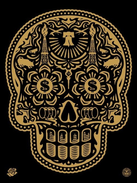 Shepard Fairey (OBEY), 'Power & Glory Day of the Dead Skull (Gold)', 2014, Dope! Gallery