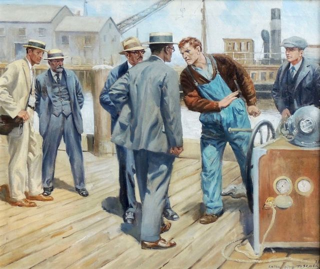 Anton Otto Fischer, 'Argument on the Dock', 1926, Painting, Oil Paint, The Illustrated Gallery