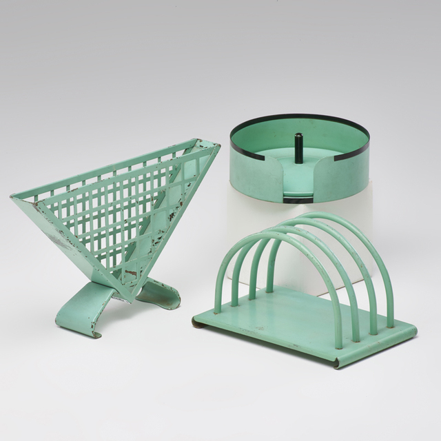 Ruppel, 'Three Bauhaus pieces: coaster set, napkin and letter holders', 1930s, Rago