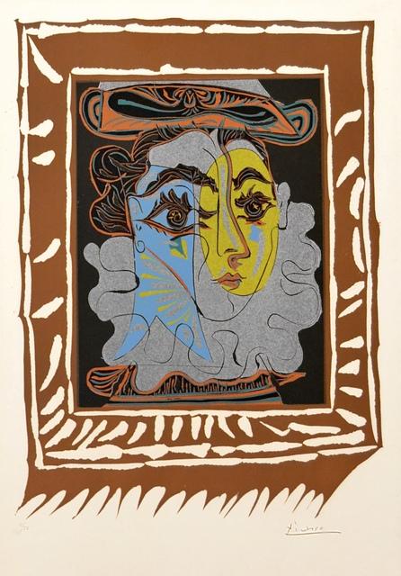 Pablo Picasso, 'Portrait de Femme A La Fraise Et Au Chapeau (B. 1145 BA. 1323) ', 1962, Print, Linocut in seven colors on Arches wove paper., Off The Wall Gallery