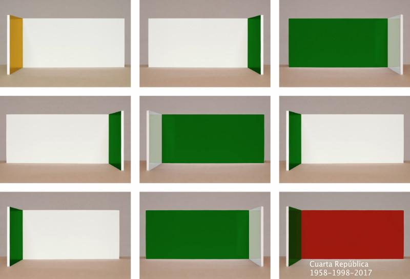 ALEXANDER APÓSTOL , LECCIONES POLÍTICAS Cuarta república 1958-1998, 2017        Fotografía digital 9 imágenes de 50 x 75 cm (extensión del mural 165 x 240 cm)