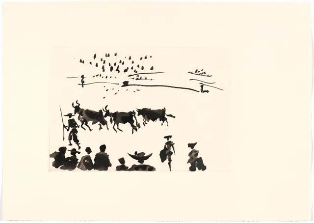 Pablo Picasso, 'Los Cabestros retiran al Toro Manso', 1957, Print, Aquatint, Koller Auctions