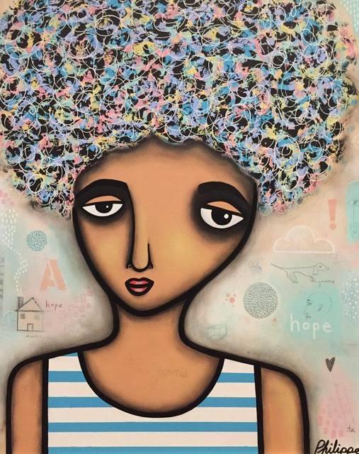 Philippe Guérin, 'Hope Bleu', 2019, Painting, Acrylique, graphite, pastel à l'huile et époxy sur bois, Artêria