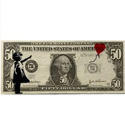 """Banksy, """" Girl with balloon """" Bank note"""