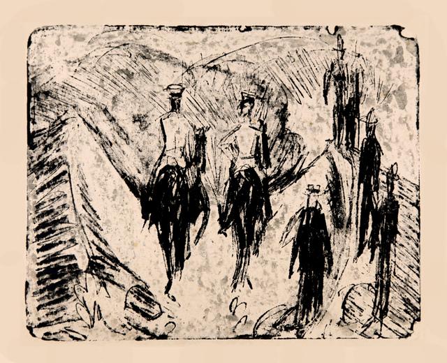 , 'Reiter durch eine Schlucht reitend,' 1915, Henze & Ketterer