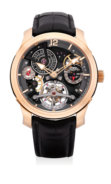Greubel Forsey, 'An extremely fine and rare limited edition pink gold transparent 30-degree double tourbillon wristwatch with 120-hour running reserve and certificate and box', Circa 2014, Phillips