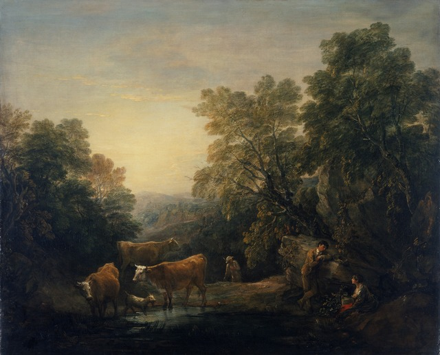 , 'Rocky Wooded Landscape with Rustic Lovers, Herdsman, and Cows,' 1771-1774, Princeton University Art Museum