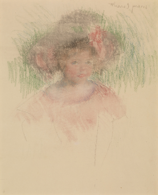 Mary Cassatt, 'Bust Length Sketch of Margot in a Big Hat and a Red Dress,', ca. 1903, Somerville Manning Gallery