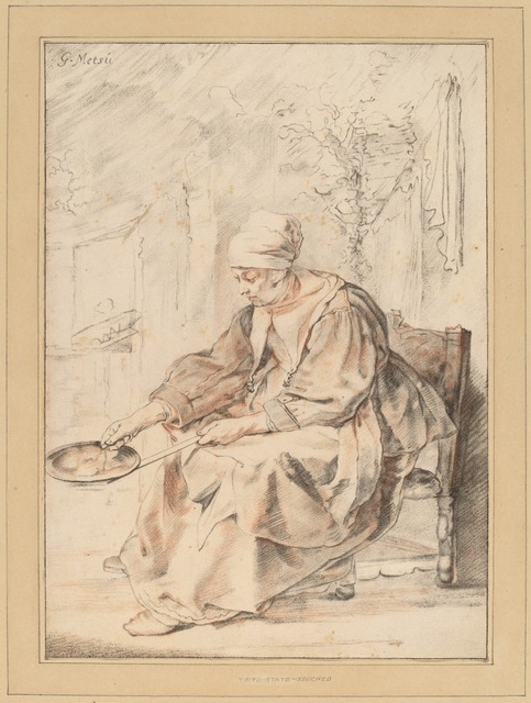 Cornelis Ploos van Amstel and Johannes Kornlein after Gabriel Metsu, 'Pancake Woman', 1768, Print, Transfer technique, hand-colored with red chalk (?), National Gallery of Art, Washington, D.C.
