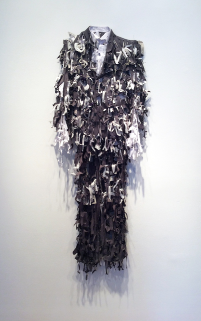 Lesley Dill, 'Grey Poem Suit', 2014, Sculpture, Fabric, thread, Nohra Haime Gallery